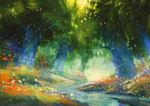 mystic blue and green forest with a fantasy atmosphere,illustration painting
