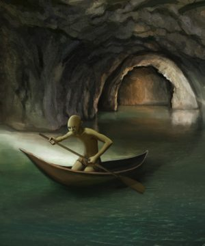 goblin in boat on underground lake, digital painting