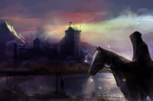 black horseman castle fantasy black horse rider with background castle view illustration