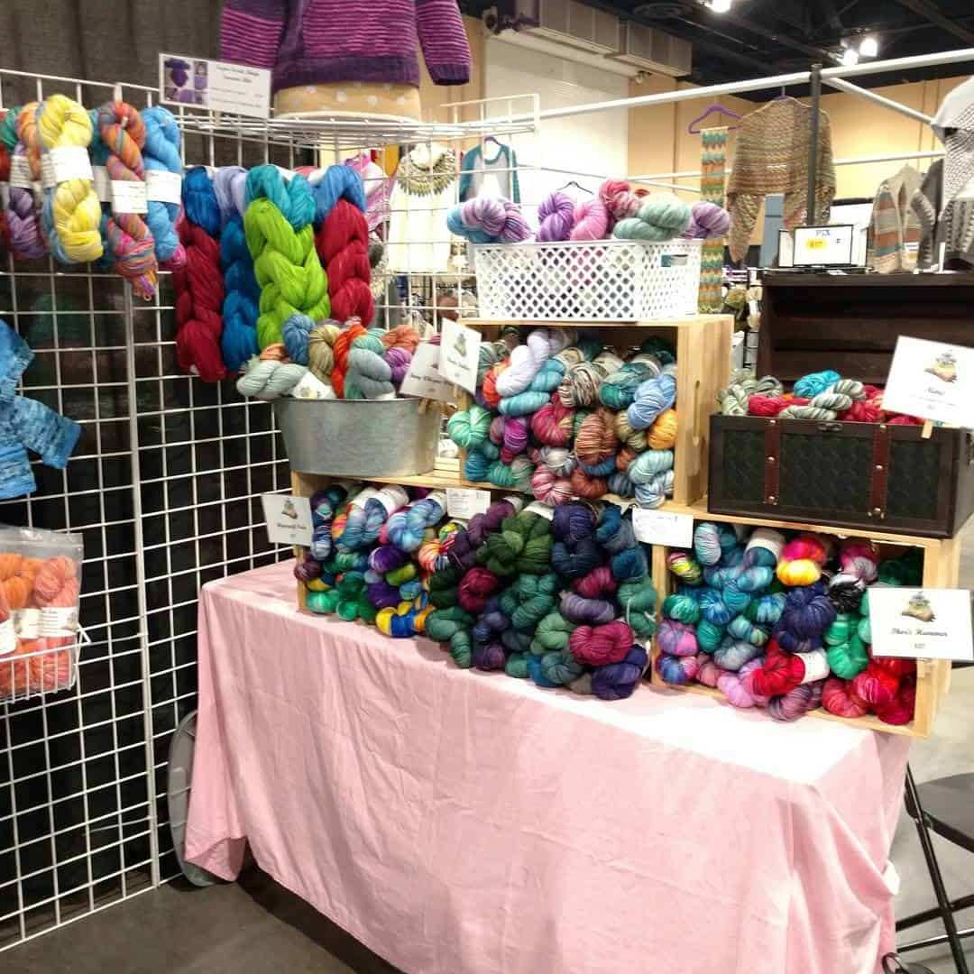 Hand dyed yarn on table to fiber festival