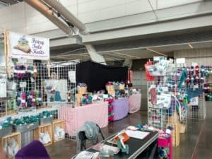 Indie dyed yarn booth at fiber festival