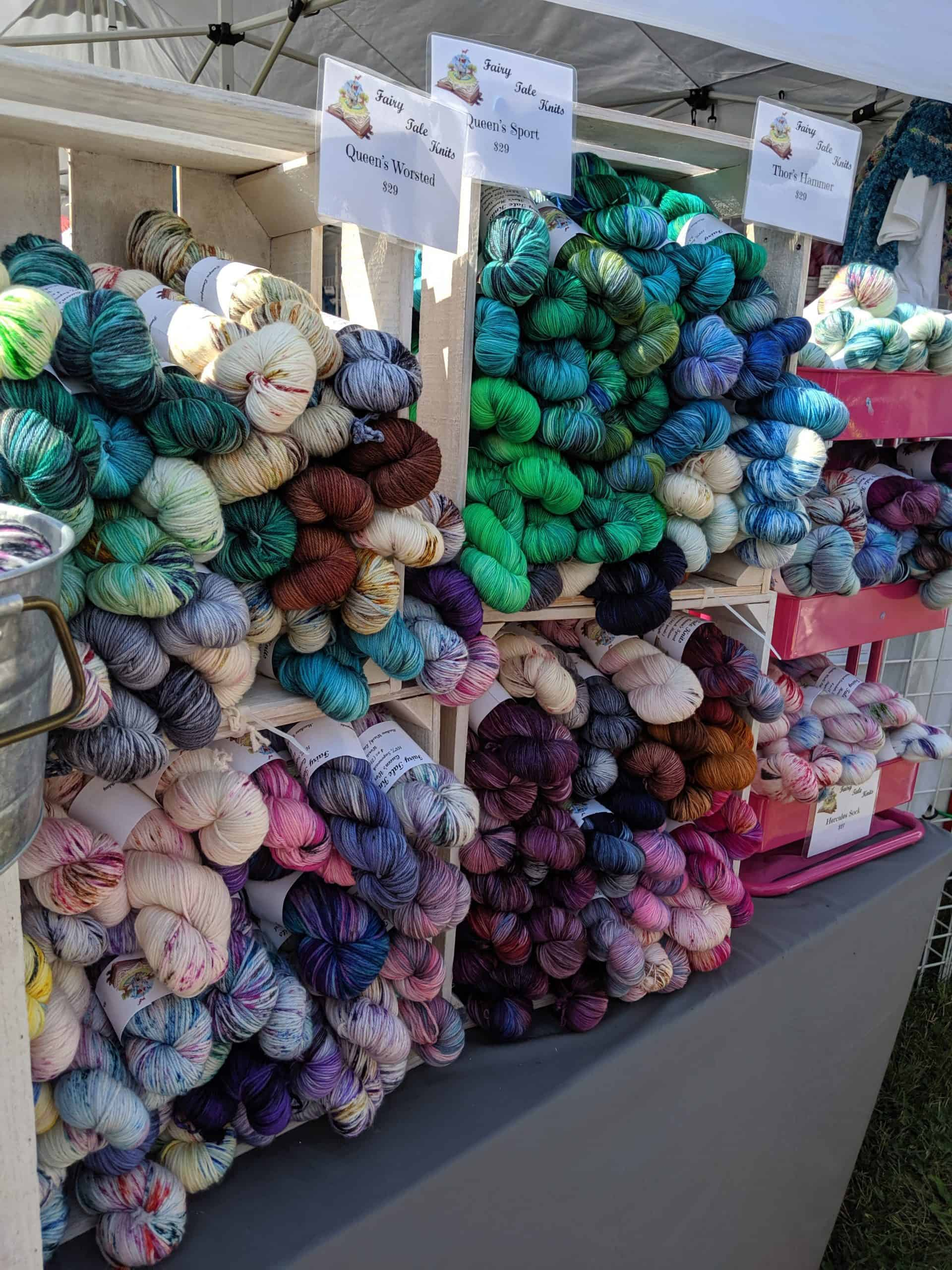 Indie dyed yarn on table at fiber festival