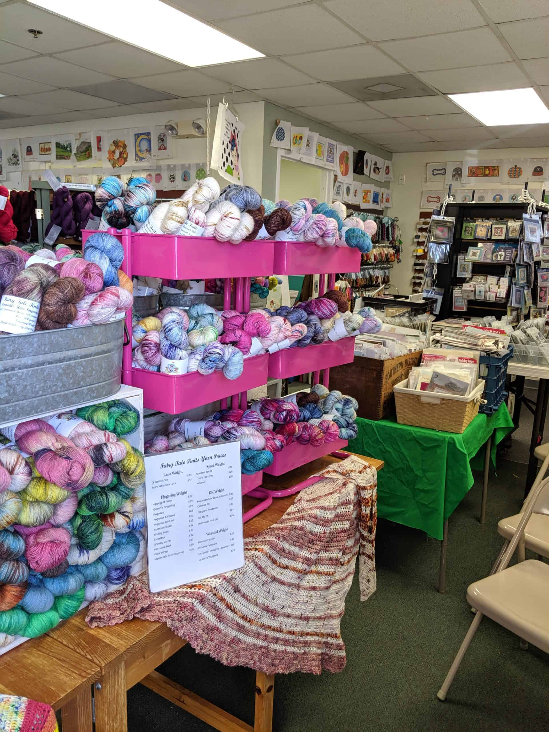 Indie dyed yarn at trunk show in local yarn shop